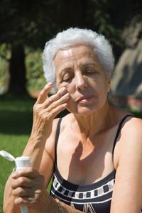 Sunscreen-older woman