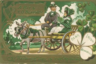 St Patricks Day Couple in Wagon