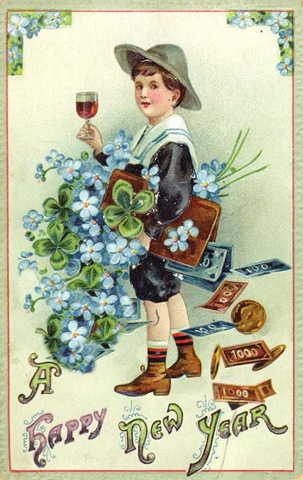 New-year-cards-boy-with-wine-four-leaf-clovers-money-blue-flowers