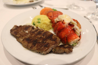 Lobster and Steak on Cruise Ship