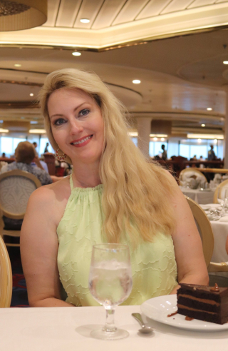 Woman Dressed Up for Caribbean Cruise on Royal Caribbean