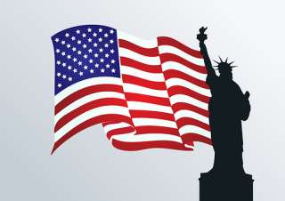 Flag of USA With a Silhouette of the Statue of Liberty