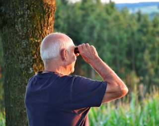 Senior Man Looking Out in Binoculars in the Forest-2642041__480