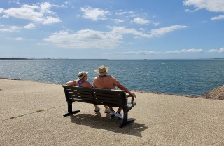 Retirement Couple on a Bench Looking at the Ocean-2272306_960_720