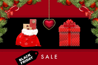 Black-friday-Red Christmas Items in Store With Sign