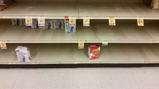 Empty Flour Shelves Due to the Coronavirus Pandemic