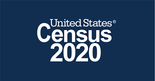 2020 Census Logo White Letters on Black Background
