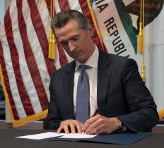 Governor Gavin Newsom California Signing a Bill