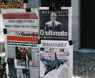 9-11 News Stand in Spain With Magazine Articles About Attacks 3