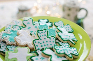 St. Patrick's Day Cookies and Irish Coffee in Background