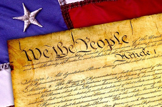 Constitution-Old Brown Paper Flag in Background