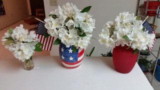 Rhodies White With Flags in Stars and Stripes Pitcher