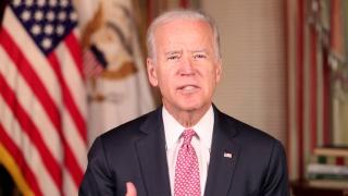 Pres Joe Biden Talking Before Flag